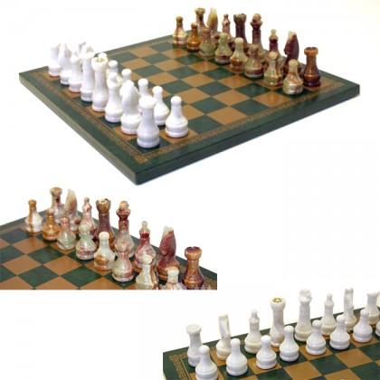 Scacchiera in simil-pelle e scacchi in onice pakistano 18023-18505