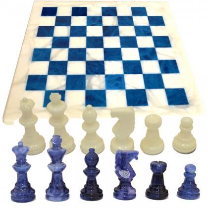Scacchiera e scacchi in alabastro di Volterra cm.37x37- 18096Blu_Bianco
