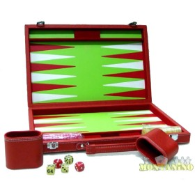 Valigetta da backgammon in similpelle rossa all'esterno..21236