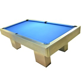 Biliardo pool interamente rifinito in acciaio inox completo di tutti gli accessori.  23088