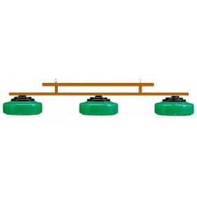 Lampadario a tre campane con asta in legno massello.        09031