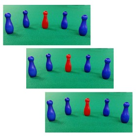 Birilli galatite 3 set da 5 birilli h. mm. 25 colorati x biliardo int. senza buche  05005