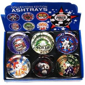 Set contenente sei posacenere in vetro raffiguranti immagini relative al poker. 21260B