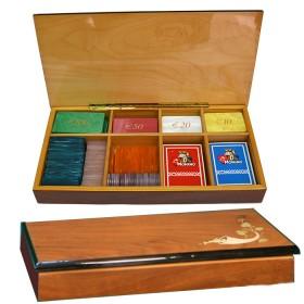 Astuccioper cartee fichesin legno di noce e acero. 16121