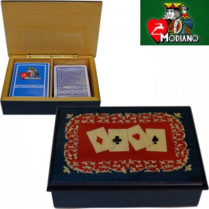 Modiano cofanetto porta carte in legno con intarsio,  16122BR