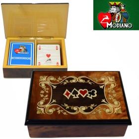 Modiano cofanetto porta carte, con 2 mazzi di carte francesi 16122legno