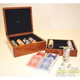 Astuccio legno DN 2 mazzi di carte francesi e 300 fiches 14.5 g. 16251