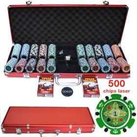 Valigetta in alluminio con 500 fiches Dal Negro 14.5 gr in ABS, taglio laser. 16248Rossa