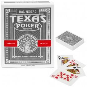 Dal Negro Texas Monkey 2 mazzi carte poker Holdem, tipo Jumbo. Dorso nero  100% PVC,. 17232_N