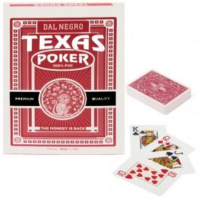 Dal Negro Texas Monkey  2 mazzi carte poker Holdem, tipo Jumbo. Dorso rosso 100% PVC,. 17232_R2 mazzi