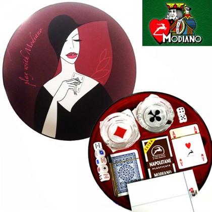Astuccio in latta Modiano con carte da gioco, dadi e posaceneri. 16101B