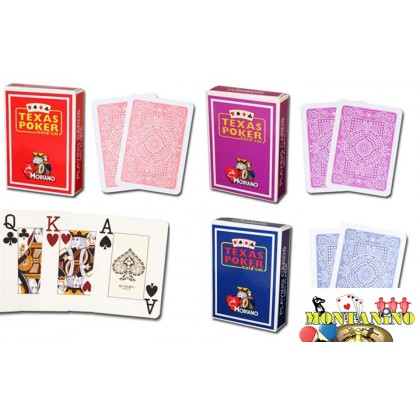 2 mazzi  di carte Modiano Texas Hold'em 100% PVC jumbo index size.  17137
