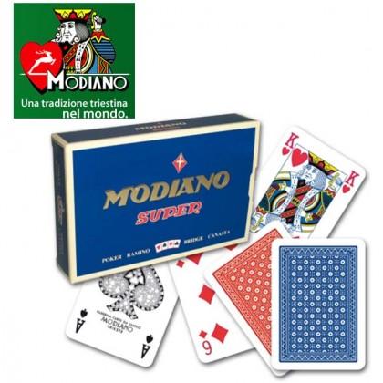 Confezione 2 mazzi Carte Modiano Super 100% PVC. 17106