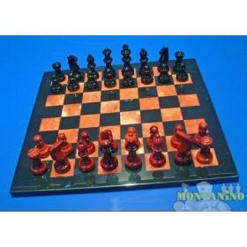 Scacchiera e scacchi in alabastro di Volterra cm 37 X 37 - 18096M
