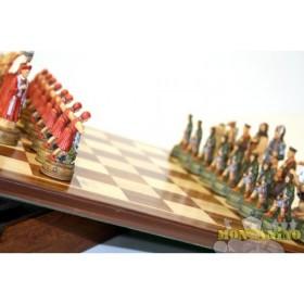 Base magnetica in legno massello con scacchi magnetici, in resina, dipinti a mano, mod. Camelot. Dimensioni 36,5   x 36,5 cm 18481
