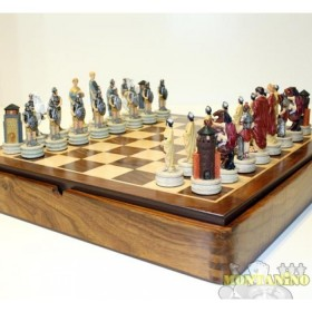 Base magnetica in legno massello con scacchi magnetici, in resina, dipinti a mano, mod. Greci vs Romani 18502