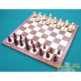 Base Dal Negro in legno 35x35 e scacchi in legno intagliati a mano 18518-18522
