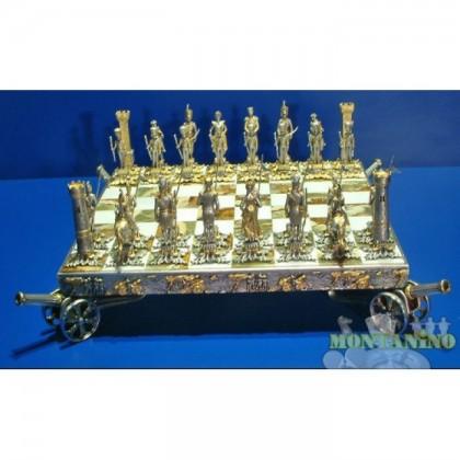 Preziosa scacchiera con base in Onice (originale pakistana) e con scacchi bagnati in oro 24 K e argento 900, mod. Napoleone k836cb.     18447-18446-