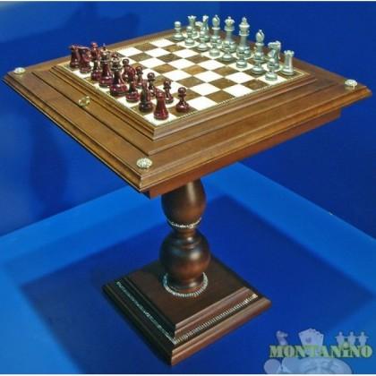 Tavolo in legno massello con base in alabastro e scacchi in legno con decoro in Strass.18462-18464