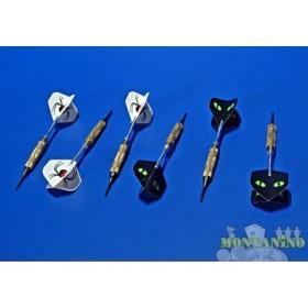 Freccette professionali con impugnatura in ottone, supporto in metalloe alette in Nylon.  -  20121