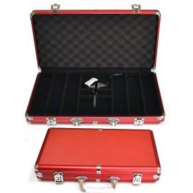 Valigetta rossa vuota da 300 fiches in alluminio Dal Negro. 16258