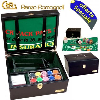 Romagnoli completo gioco black jack dollaro, in pelle nera, con accessori. 16167