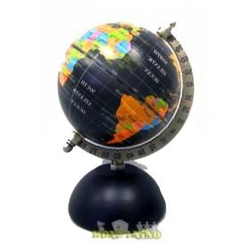 Globo con mappa nera, base in legno e cornice in ottone.     22052