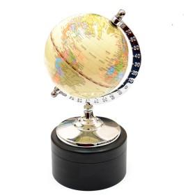 Globo con mappa lucida, base in legno con contenitore in ottone. 22054