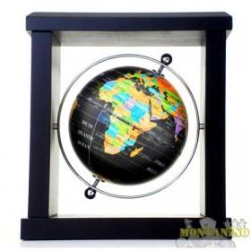 Globo con mappa nera e cornice in legno. 22059