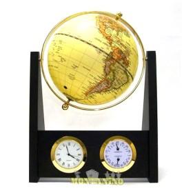 Globo base legno e cornice ottone con orologio, termometro e igrometro. 22061