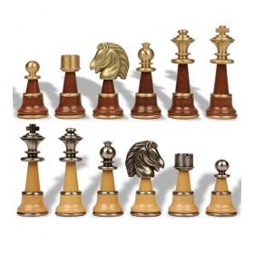 Perstigiosi scacchi in legno e ottone massiccio  -18175