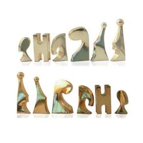 Scacchi moderni  in resina  argentati e dorati piombati e felpati 18471