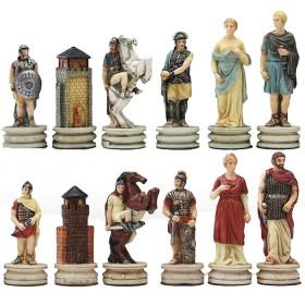 Scacchi in resina dipinti a mano, felpati, mod. Greci vs. Romani.18497