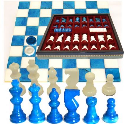 Scacchiera in alabastro completa di scacchi, pedine e dotata di contenitore porta scacchi.18139BAz