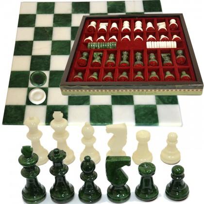 Scacchiera in alabastro completa di scacchi, pedinee dotata dicontenitore porta scacchi.18139V