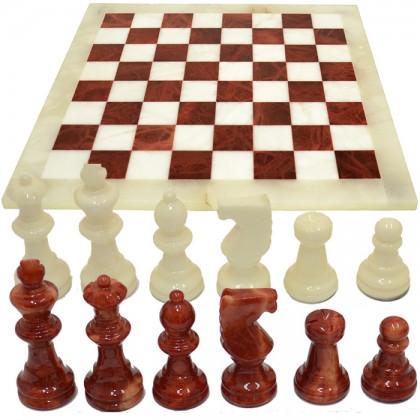 Scacchiera e scacchi in alabastro di Volterra cm.37x37 - 18096B-M