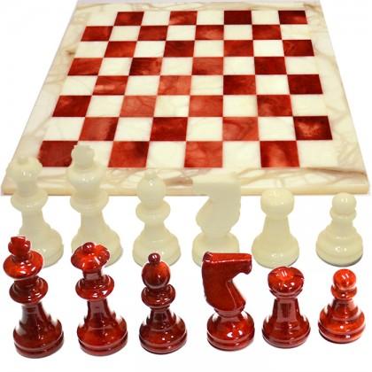 Scacchiera e scacchi in alabastro di Volterra cm 37 X 37. 18096 Rosso