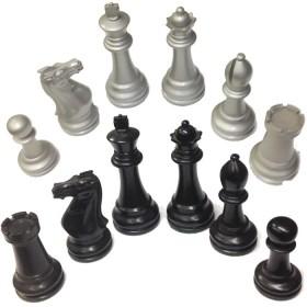 Scacchi grandi in legno piombati e felpati argento-nero 18432