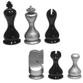 Scacchi piombati e felpati in legno laccato argento/neroimpreziositi con decoro in Strassdi cristallo di Boemia.18460
