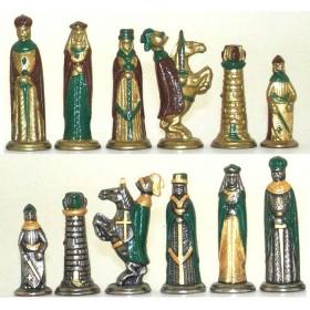 Scacchi Re Artù in metallo dipinti a mano. 18125