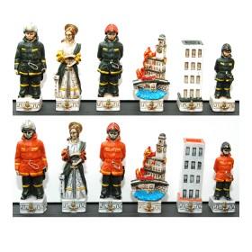 Scacchi  Vigili del fuoco in resina porcellanata dipinti a mano    21253