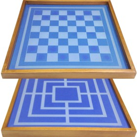 Scacchiera in legno con piano blu in vetro douple face 18099B