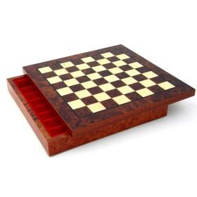 Base in radica di olmo e con contenitore per scacchi 18327