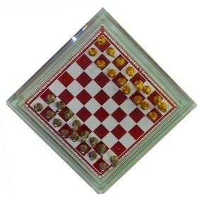 Mini Scacchiera in vetro con contenitore e scacchi in metallo Dimensioni: 16 x 16 cm   -18346