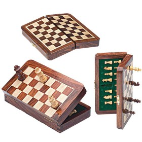Scacchiera magnetica pieghevole in legno massello 18495