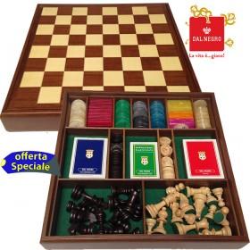 Dal Negro Damiera completa con scacchi, pedine, carte da gioco e fiches. 18085
