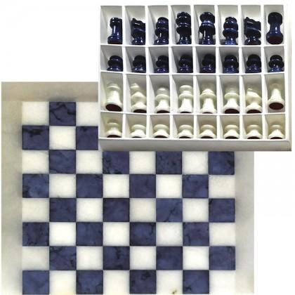 Scacchiera e scacchi in alabastro di Volterra cm. 27 x 27. 18458B