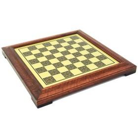 Scacchiera effetto ottone con cornice in legno, cm 36x36x4 - casella: cm 3,0. 18002