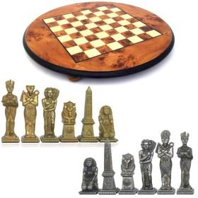 Prestigiosa scacchiera in radica di olmo con scacchi realizzati in metallo raffiguranti gli egiziani  -18181-18149