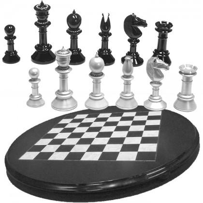Scacchierarotonda e scacchi impreziositi con decoro in Strassdi cristallo di Boemia.18474-18469